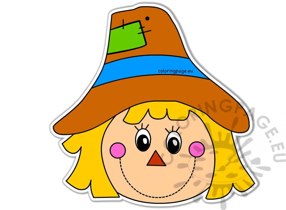 Autumn Scarecrow Face Image Coloring Page