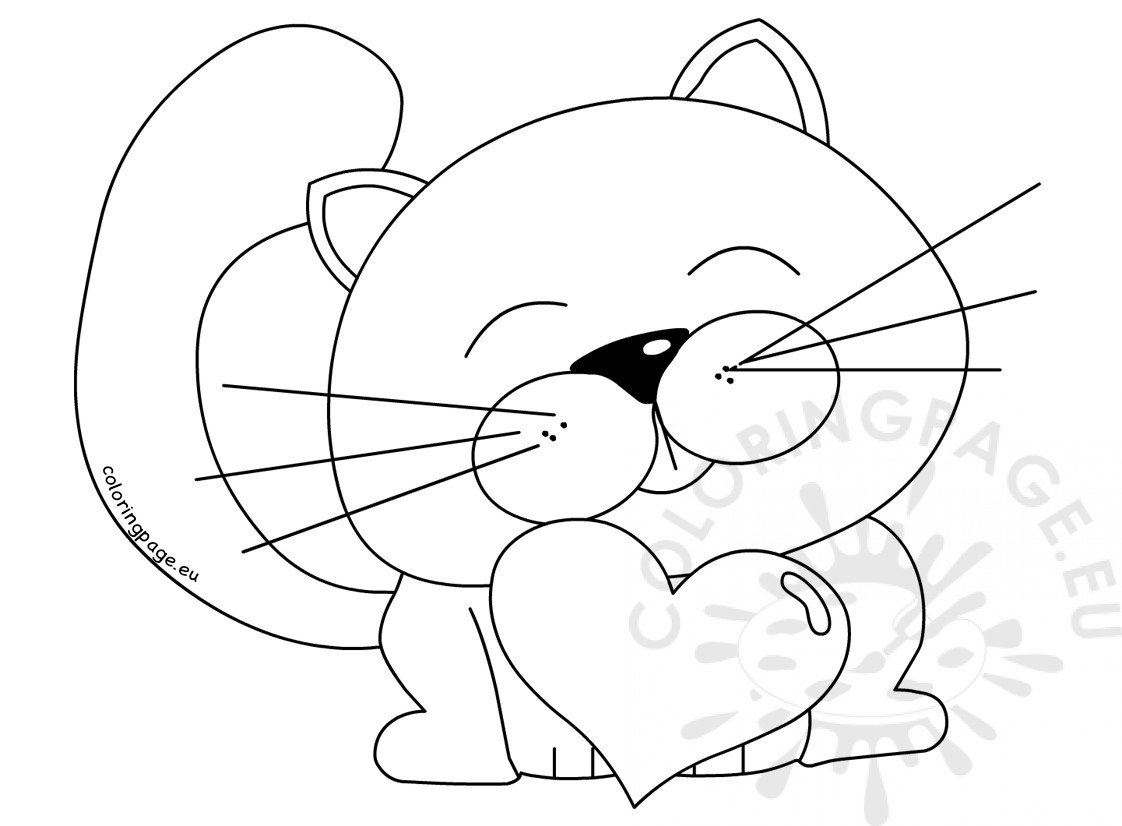 Cute Cat Heart Clipart Valentine S Day Coloring Page