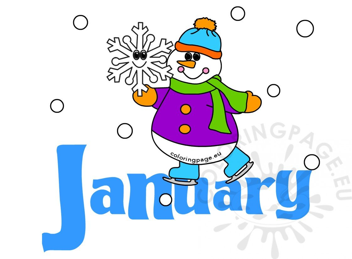 Month Of January Snowman Image Coloring Page