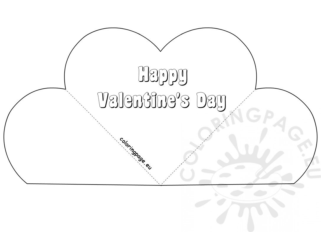 Simple Popup Heart Card Valentine S Day Coloring Page