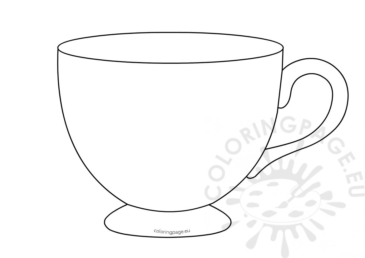 Tea Cup Template Printable Coloring Page