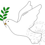 Printable White Dove With Olive Branch Coloring Page