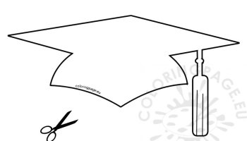 printable graduation hat template coloring page