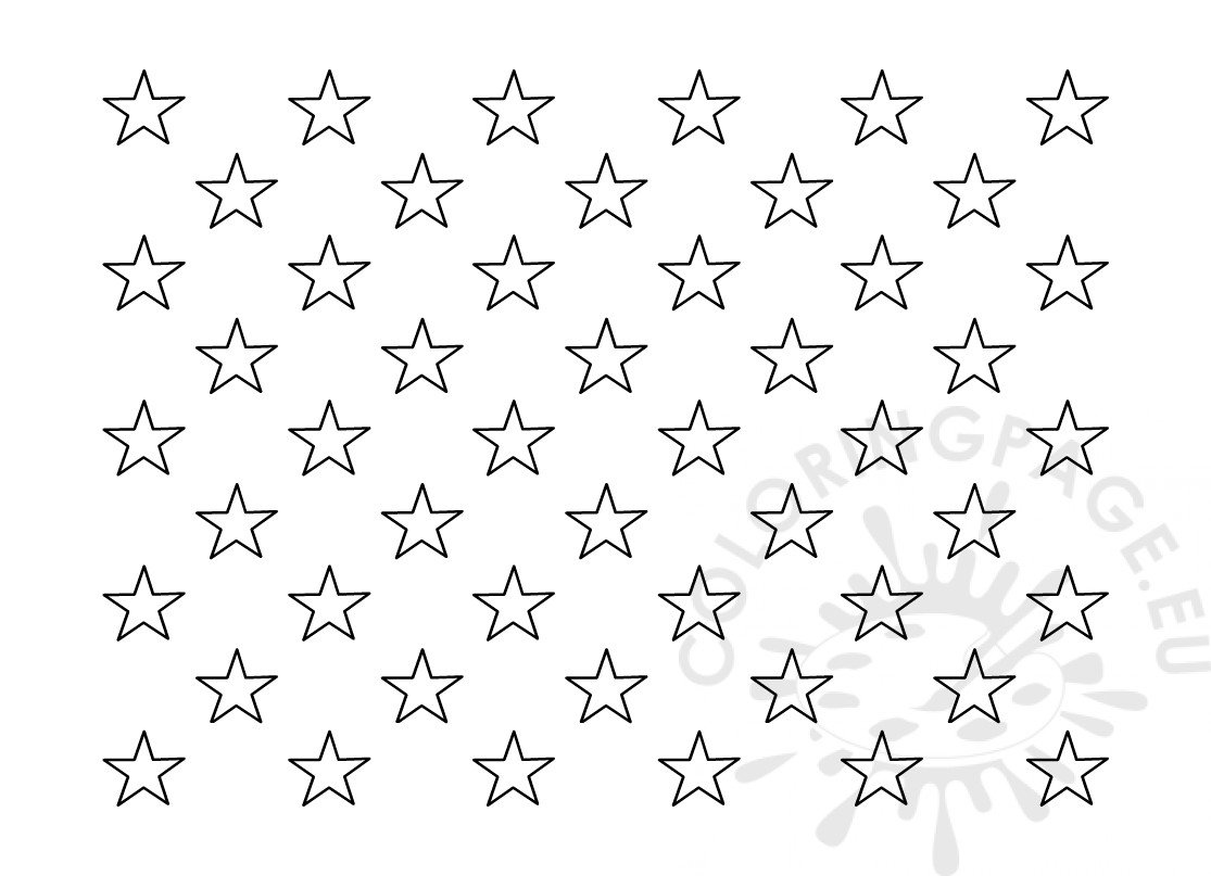 American Flag 50 Stars Template Outline Coloring Page
