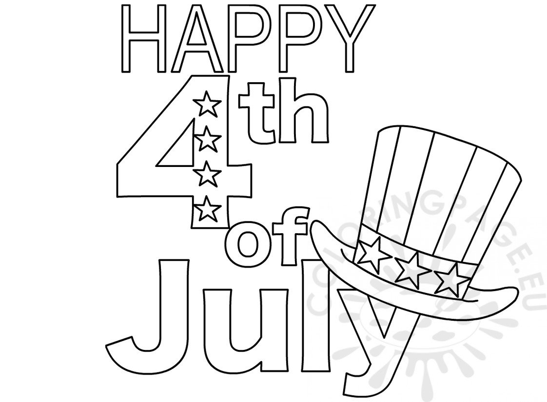 Printable Happy 4th Of July Coloring Page