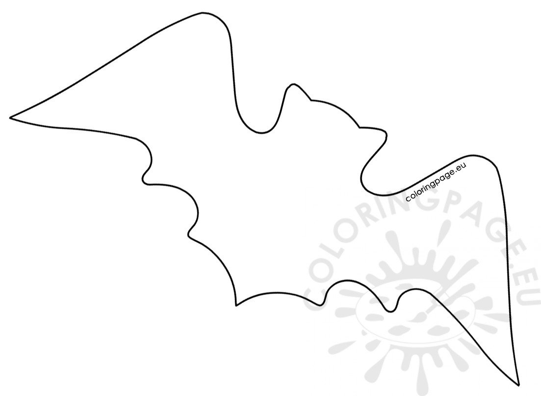 Large Bat Template Printable Coloring Page