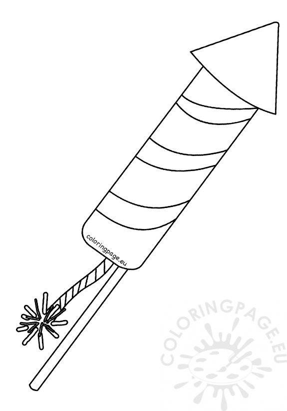 Striped Firework Rocket Template Printable Coloring Page