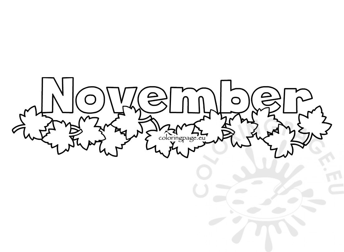 Autumn Leaves Month November Illustration Coloring Page