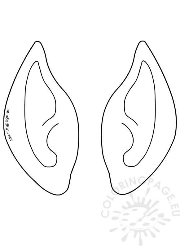 Christmas Elf Ears Template Vector Image Coloring Page
