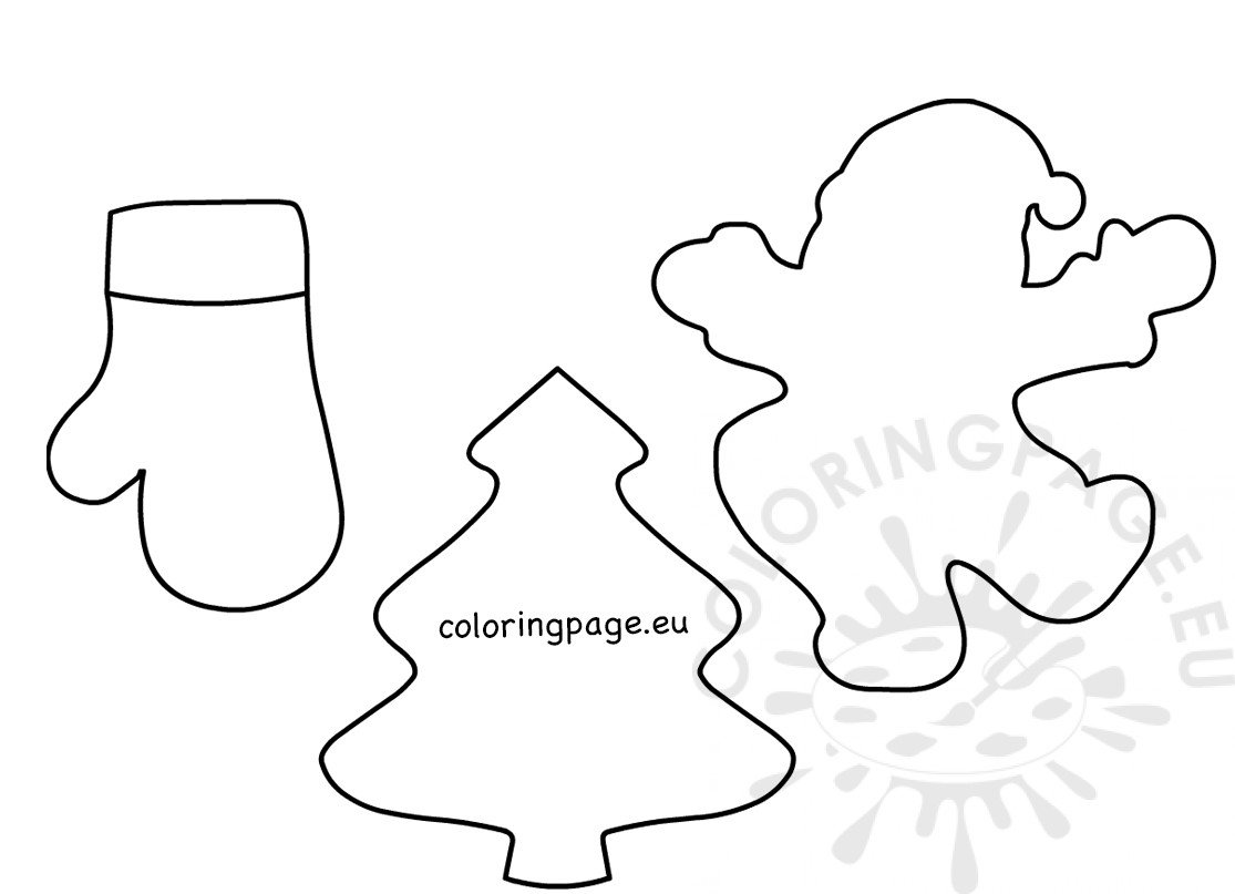 Large Felt Xmas Shapes Printable Coloring Page