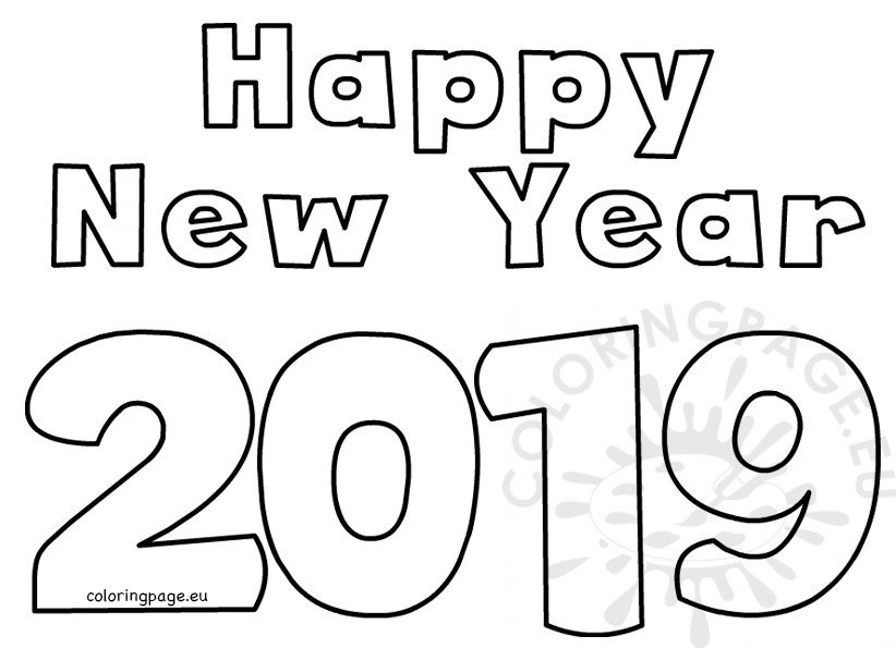 happy new year  text design – coloring page