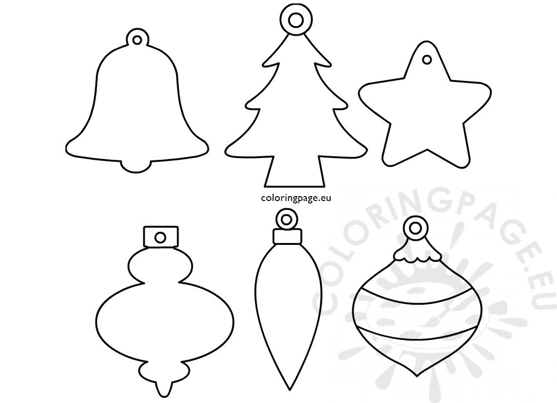 Set Christmas Ornament Shapes Printable Coloring Page
