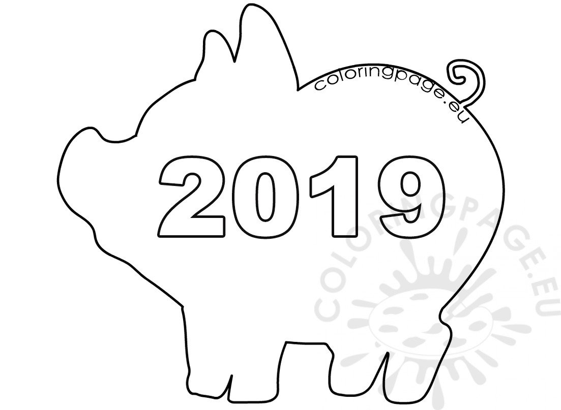 Pig Template Chinese New Year Coloring Page