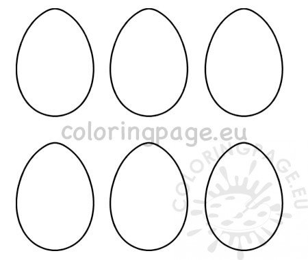 Printable 6 Easter Egg Templates Coloring Page