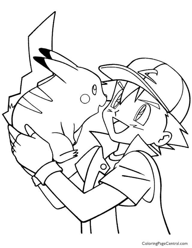 Pokemon - Ash Coloring Page 28  Coloring Page Central