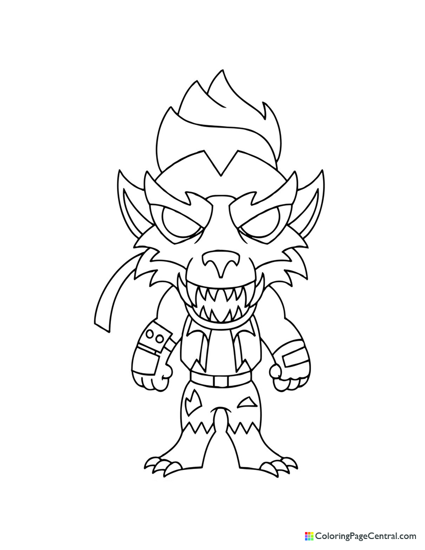 Fortnite Dire Werewolf Chibi Skin Coloring Page Coloring Page Central