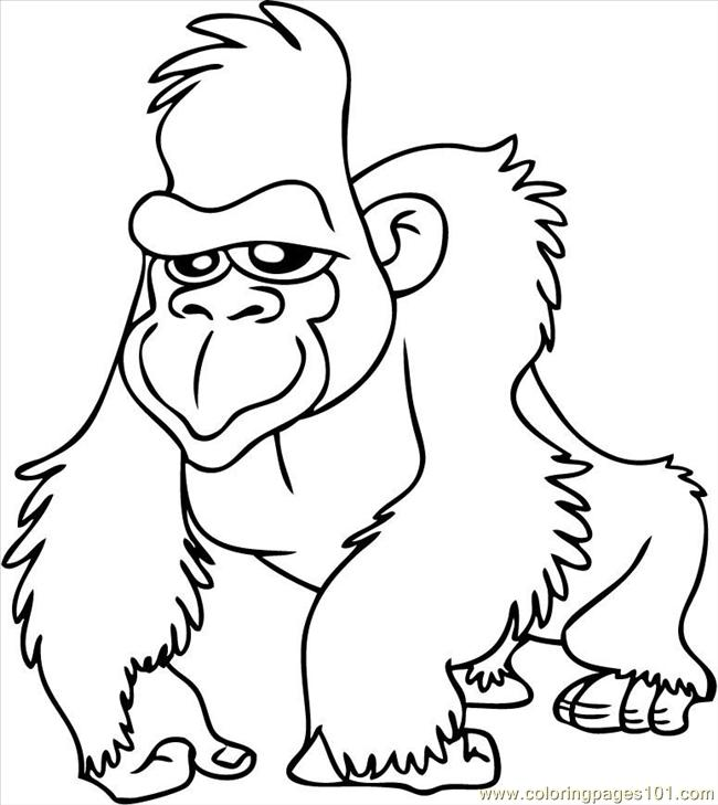 Gorilla7 Coloring Page Free Baby Gorilla Pages