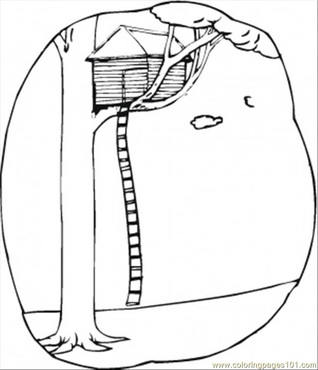 tree houses colouring pages