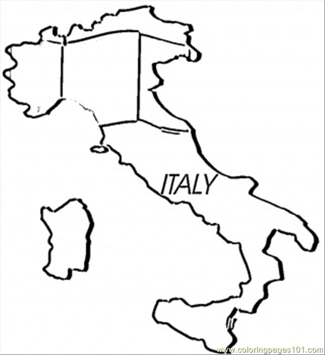 coloring pages map of italy (countries > italy)  free
