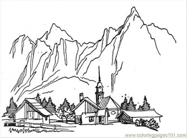Mountain Scenery Coloring Pages. mountain scenery coloring ...