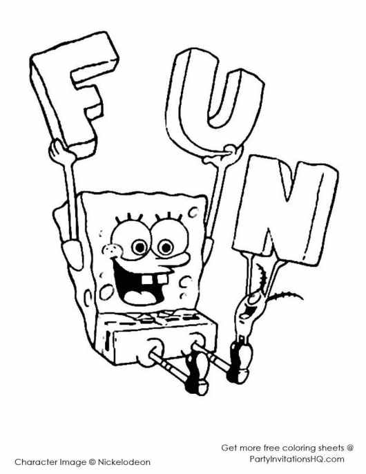 spongebob squarepants birthday coloring pages
