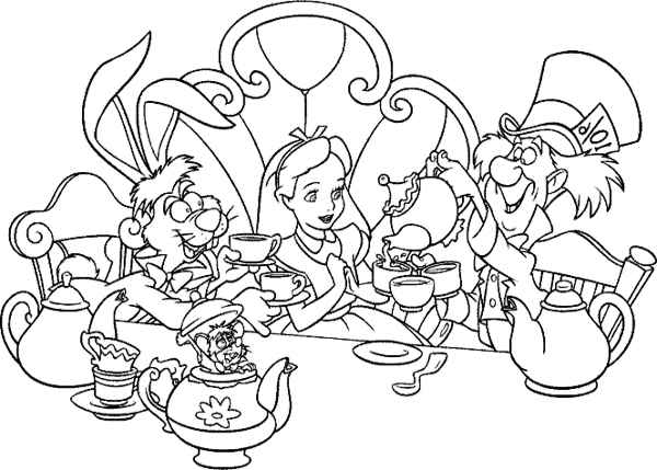 alice in wonderland coloring pages tea party