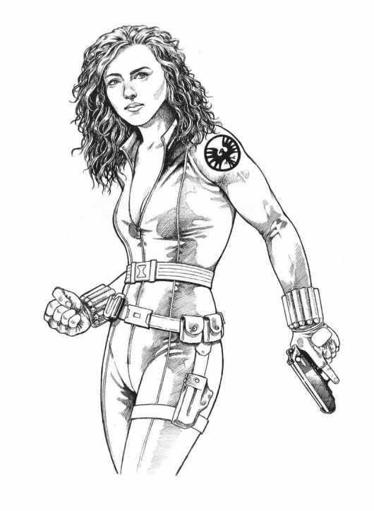 black widow girl superhero coloring pages