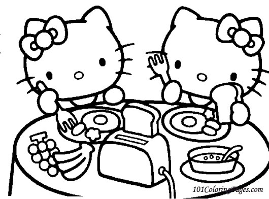 breakfast hello kitty coloring pages