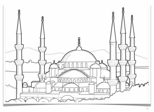 blue-mosque-turkey-coloring-pages