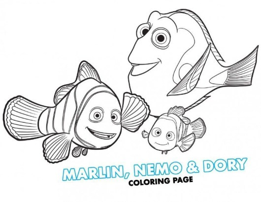 Finding-Dory-Marlin-Nemo-and-Dory-Coloring-Page