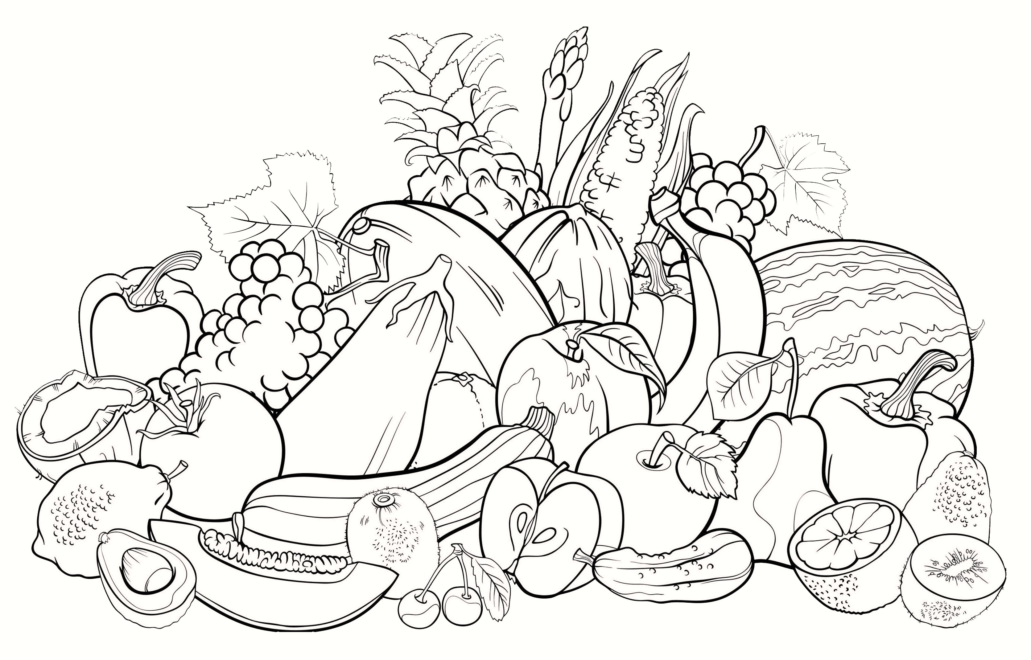 All Fruits Coloring Pages