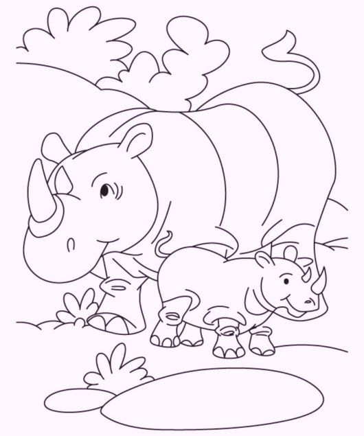 rhino-and-babies-coloring