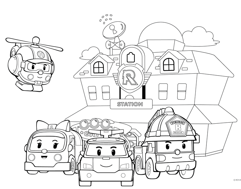 Robocar Poli Coloring Pages to Teach Road Safety for Kids
