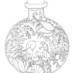 Elephant In a Bottle Magical Jungle clip art