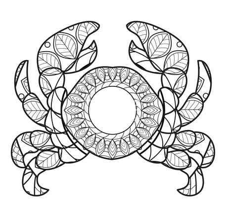 mandala crab coloring page - Crab Coloring Pages