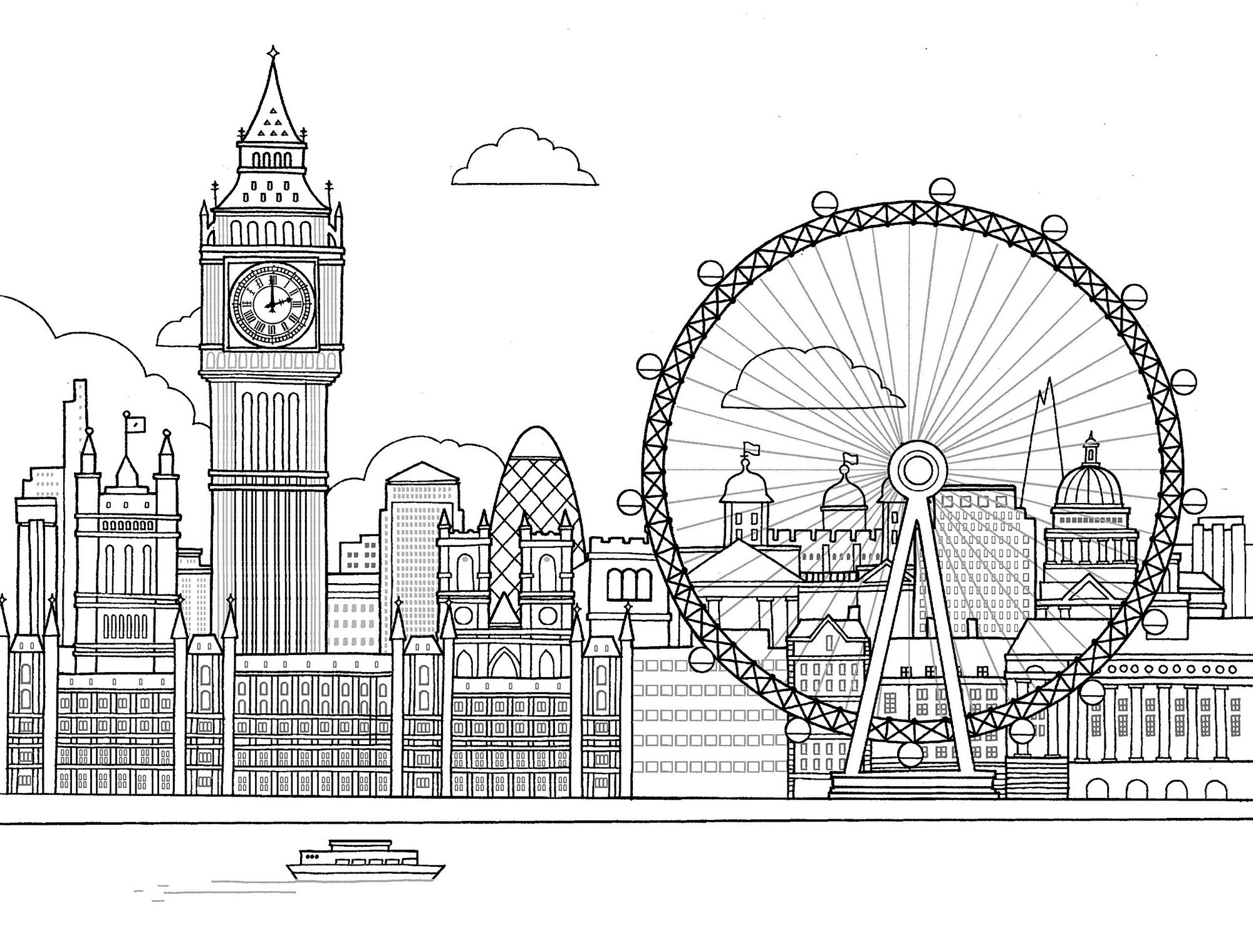 The London Eye Coloring Page