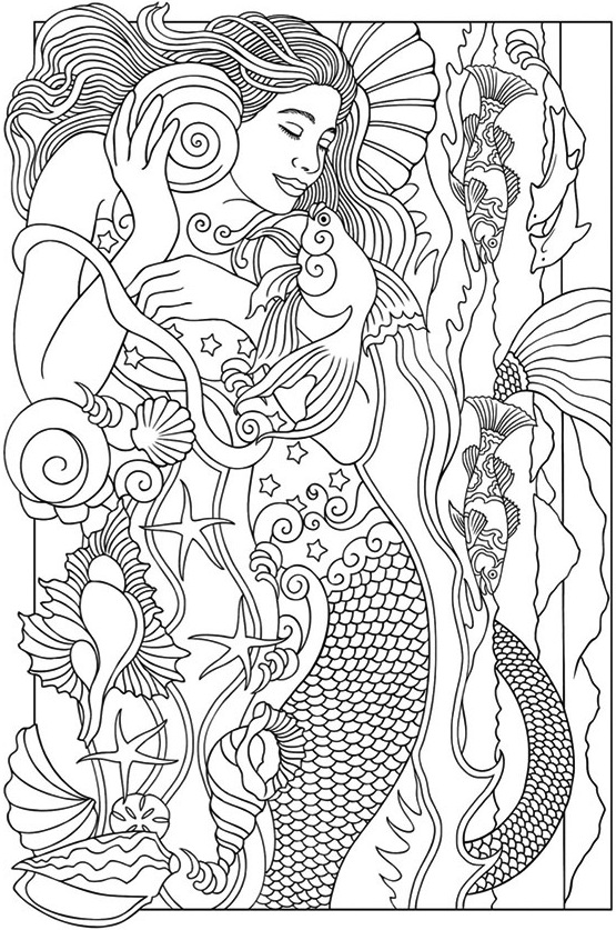 Realistic-Mermaid-Illustrations-Coloring-Books