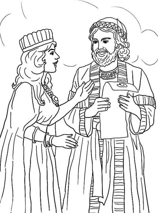 Queen Esther And Mordecai With Kings Edict Coloring Pictures