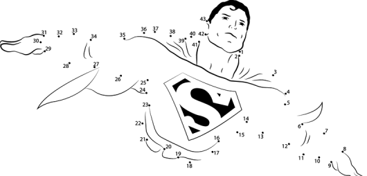 Superman Flying Connect Dots Coloring Pictures