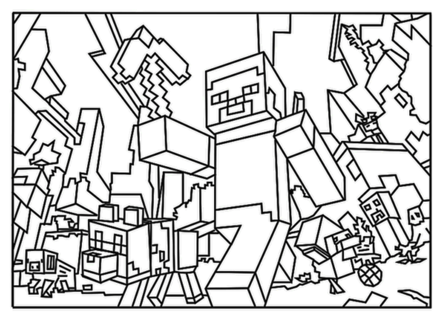 Minecraft Steve Coloring Page To Print 2