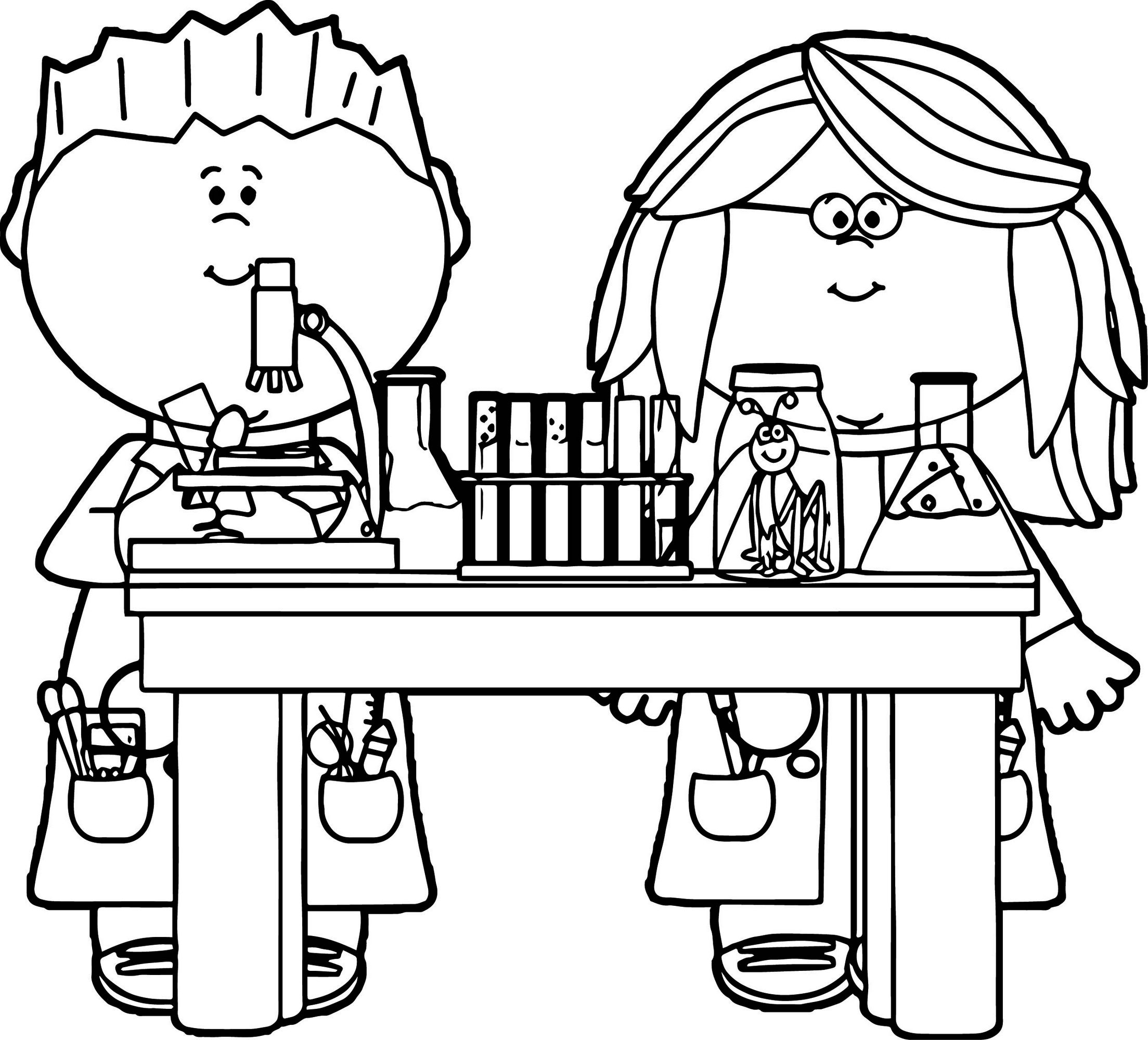 Kids In Science Class Coloring Page Printable