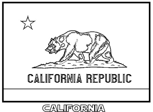 California Republic Flag Coloring Page