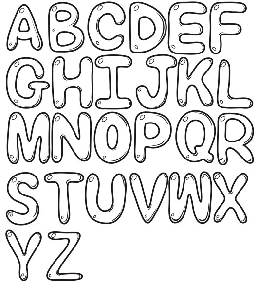 Draw Font Bubble Letters Coloring Page