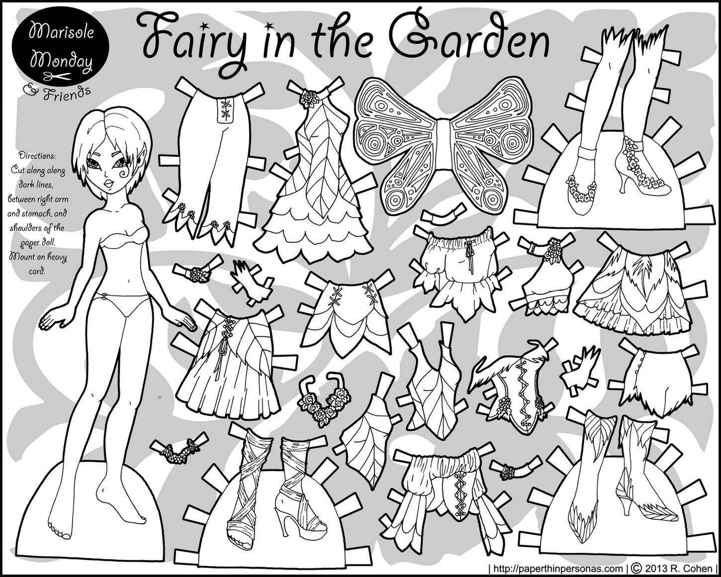 Fairy In The Garden Coloring Page Paper Doll