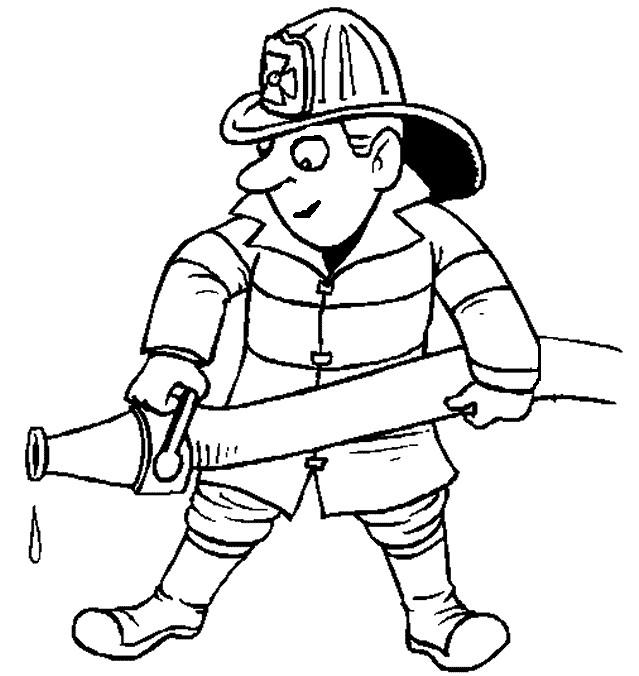 Firefighter Coloring Page Water