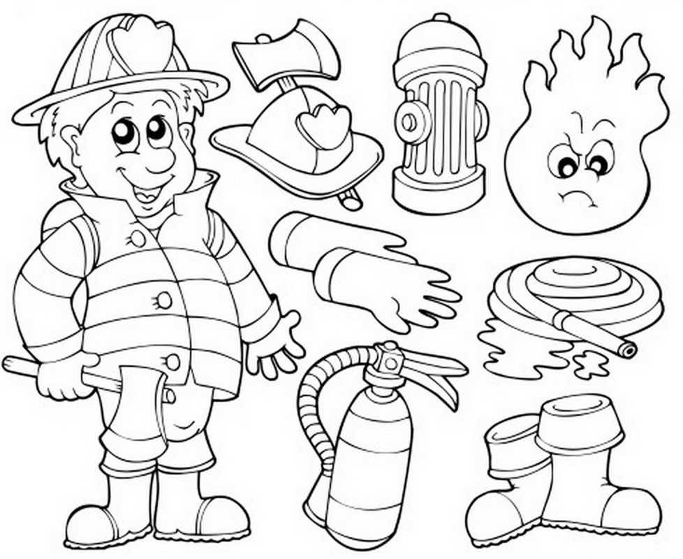 Firefighter Equipment Coloring Pages