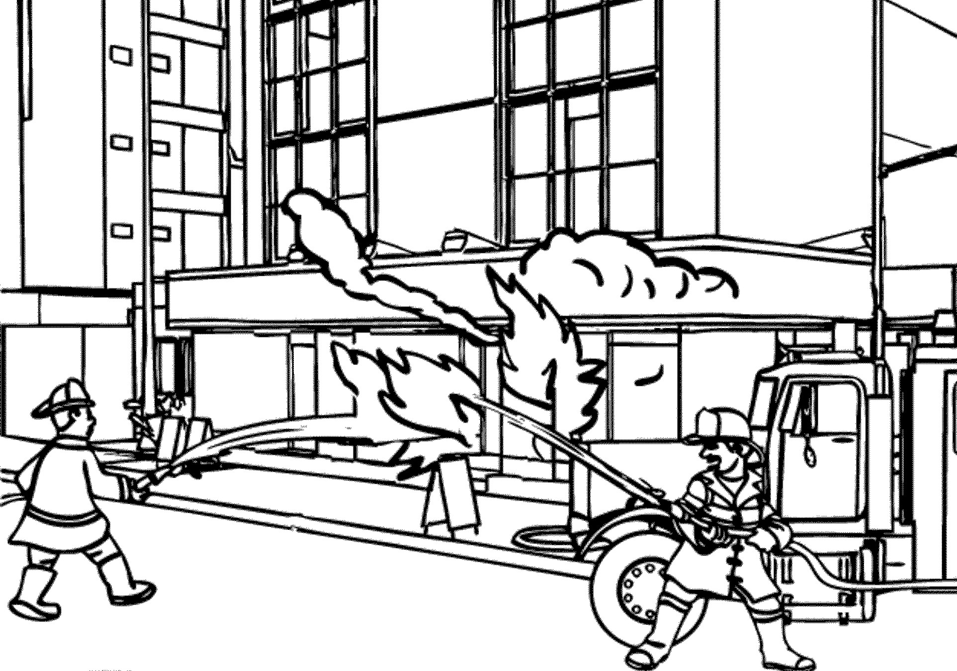 Fireman Rescue Building Coloring Pages - Coloring Pages