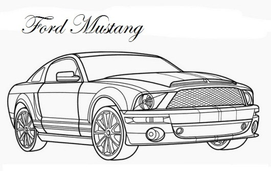 Ford Mustang Design Exterior Coloring Page