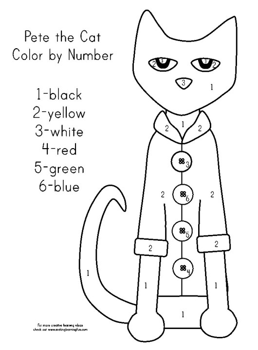 Pete The Cat Coloring Page With Coloring Guides