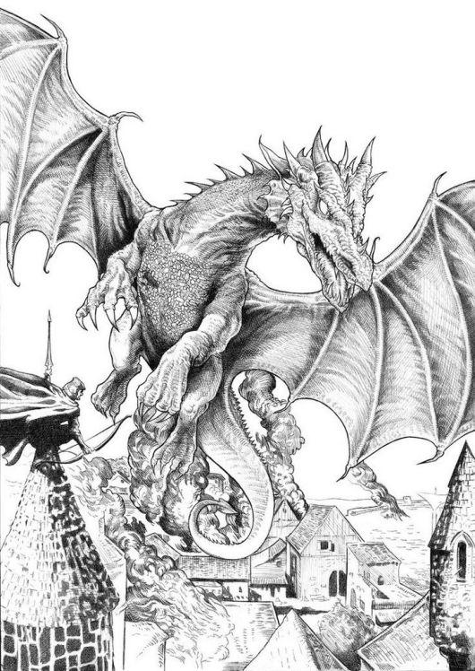 Smaug The Hobbit Coloring Page Dragon
